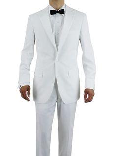 Giorgio Napoli Men's One Button Peak Lapel Adjustable Pants Tuxedo Suit White