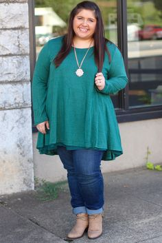 Double Trouble Layered Tunic in Green {Curvy} - The Fair Lady Boutique - 1