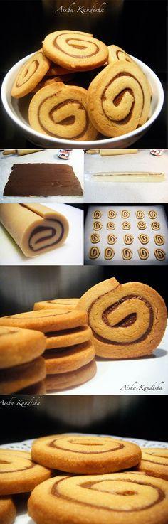 Espirales, nutella, galletas, crujientes, espirales de nutella