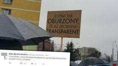 Transparent na manifestacji KOD