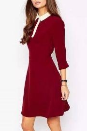 Vintage Color Block Slim Fit Trapeze Dress