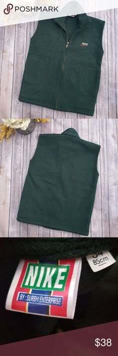 🎉VINTAGE NIKE Forest Green Fleece Vest🎉 Wow! Talk about a throwback This lovely Nike Vest is vintage but in great condition Unique forest green vest Fleece Size 34 (M) Zips up the front Nike logo on the front Very comfortable No tears or stains Smoke free home  Perfect for the season Nike Jackets & Coats Vests