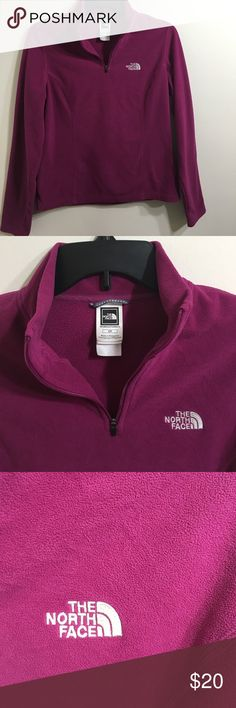 North Face Half Zip Jacket Beautiful plum color with silver logo. Good condition. There is a small spot in the front (pictured). Otherwise no issues. North Face Jackets & Coats
