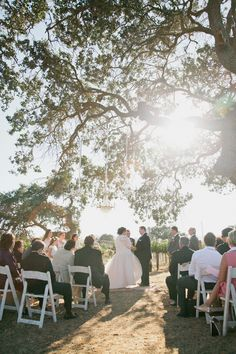 Sunstone Villa wedding ceremony. Getting married beneath the trees amongst the vines in the vineyard. Vintage chandeliers hanging from trees. Photography: Erin Leigh - www.thebowerygirl.com  Read More: http://www.stylemepretty.com/california-weddings/2014/04/01/romantic-vintage-wedding/
