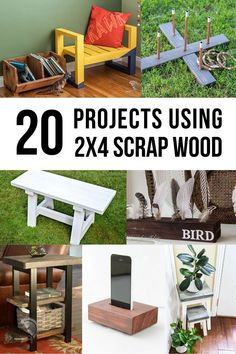 Creative 2x4 scrap wood project ideas! These easy DIY projects using 2x4 scraps are the perfect way to clean up the garage. #anikasdiylife Diy Projects Using Wood, Wood Projects That Sell, Scrap Wood Projects, Diy Furniture Projects, Diy Craft Projects, Furniture Makers, House Projects, Pallet Projects, Project Ideas