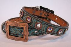 """3/4"""" Wide Dog Collar in Turquoise Gator with Copper Accents and AB Crystals by Running Roan Tack...Tessie present"""
