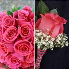 Bukiet ślubny z róż.