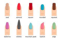 Types Of Nails Shapes, Different Nail Shapes, Best Nail Art Designs, Toe Nail Designs, Nails Design, Vogue Nails, Nail Forms, Ballerina Nails, Holiday Nails