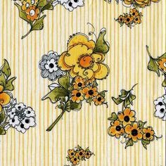 Yellow Flower Border Stripe - Loralie Design - 1 yard - More Available by BywaterFabric on Etsy