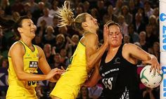 Bancia Chatfield (left) and Laura Geitz of the Diamonds contest for the ball against Catherine Latu. Does this count as rough-housing?  Photograph: Michael Dodge/Getty Images