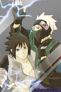 Tags: Anime, NARUTO, Uchiha Sasuke, Hatake Kakashi, Gray Background, Electricity, Pixiv Id 7262172