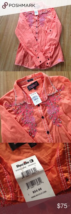 Sale today,,Western shirt NWT never used. Firm no offers. Bust 19 length 26 sleeves length from shoulder down is 26 Roar Tops Button Down Shirts