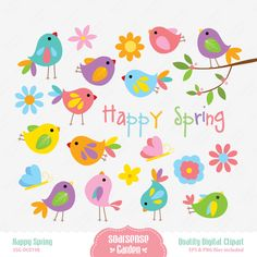 Happy Spring Digital Clipart por SSGARDEN en Etsy