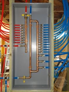 Check out these PEX manifold installation tips before making these (now) easily preventable mistakes during your install. Location, design, and more! Water Plumbing, Pex Plumbing, Bathroom Plumbing, Bathroom Fixtures, Bathrooms, Plumbing Drains, Basement Bathroom, Slab Leak, Diy Pipe Shelves