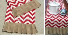 Chevron Table Runner with Burlap ruffle Limited qty. (I really think my mom could make these, likety split  for a song....)