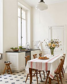 Timeless kitchen - Parisian apartment- encaustic cement floor @abkasha on instagram - Betsy kasha