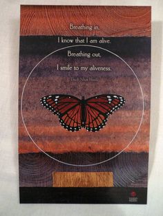 Thich Nhat Hanh Quote Zen Buddhist Breathing In by Tasteliberty, $8.00