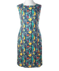 Another great find on #zulily! Navy Glasses & Bottles Starling Pocket Dress - Women by Mata Traders #zulilyfinds