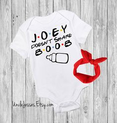 Joey Doesn't Share Boob FRIENDS Inspired Baby Bodysuit With Option for Matching Headband (Joey Doesn't Share Food) By UncleJesses Clothing Unisex Kids' Clothing Bodysuits friends tv show how you doin pricess consuela banana hammock ill be there for you unagi pivot best friends baby clothes baby outfit we were on a break Chandler Bing Funny Baby Onesie