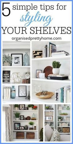 5 simple tips for how to decorate or styling bookshelves with books, vases, with pictures etc. Decorating bookshelf ideas. Built in bookcase or Ikea. #homedecor #styling #books #bookshelves #stylingbookshelves #withbooks #decoration #modern #Ikea #livi