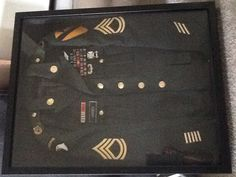 22/28 Shadow Box My Husbands old Army Class A's Staple Gun