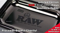 Limited Edition RAW Black Gold Rolling Tray makes the most special gift. Each 11x7in tray includes an amazing fold out case for the perfect finish. All proceeds go to charity. Enter to win 1 too!  http://www.1percent.com/raw-black-gold-rolling-tray.html
