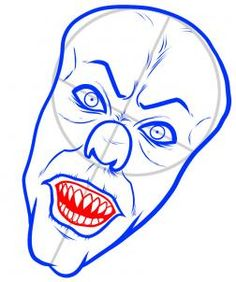 how to draw pennywise, STEP 5. Next, draw the top gum line, and then draw in the sharp row of top teeth as well as the bottom row of teeth. Color in the inside of the mouth and then draw the lower lip line.