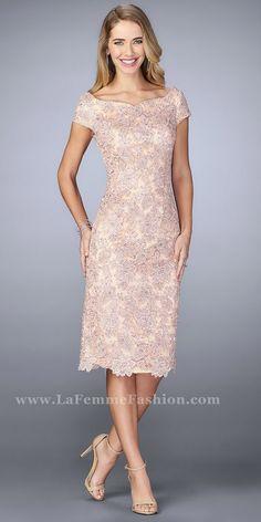 809ea554d4f0 Floral Lace Rhinestone Scattered Cocktail Dress by La Femme. Lace Evening  DressesFormal ...