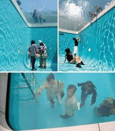 Swimming pool by Leandro Erlich. Walk and breath underneath. A large piece of acrylic spans the pool and suspends water above it, creating the illusion of a standard swimming pool. Percy Jackson, Picture Blog, Nice Picture, Cool Inventions, Foto Art, Funny Pranks, Evil Pranks, Funny Humor, Laugh Out Loud