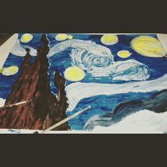 Esto pasa cuando tienes estres y te pones a pintar sobre Van Gogh  Autor: Sharid