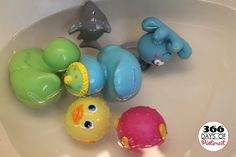 How to Clean Tub Toys-Mix 1/2 cup vinegar with a gallon of water. The sink is a great place to mix your ingredients. Soak the toys for one hour, then scrub and rinse well.