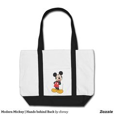 Modern Mickey   Hands behind Back. Producto disponible en tienda Zazzle. Product available in Zazzle store. Regalos, Gifts. Link to product: http://www.zazzle.com/modern_mickey_hands_behind_back_tote_bag-149799634332426134?CMPN=shareicon&lang=en&social=true&rf=238167879144476949 #bolso #bag #disney