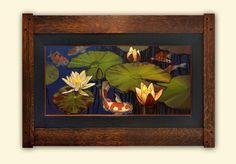 Jan Schmuckal | Oil On Solid Copper No.27 | Koi Pond | Water Lilies | Lotus | Frame by Dard Hunter Studios