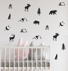 Woodland Animal Wall Decals - Nursery Decals, Forest Animal Decals, Tree Wall Decals, Animal Decals, Woodland Nursery Wallpaper Stickers by BlueDesignCo on Etsy Childrens Wall Decals, Animal Wall Decals, Nursery Wall Decals, Vinyl Wall Decals, Bedroom Wall, Kids Bedroom, Wallpaper Stickers, Nursery Wallpaper, Forest Animals
