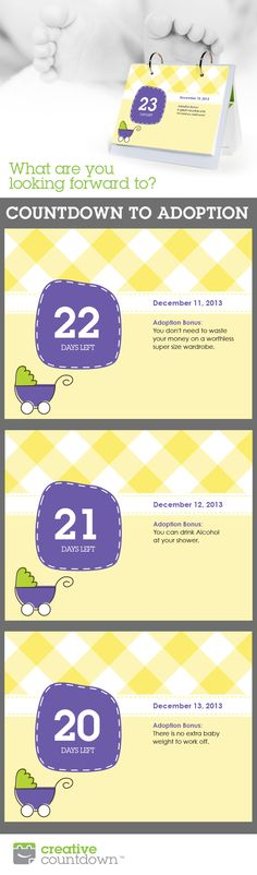 Make a personalized Countdown To Baby with Creative Countdown. Makes a unique shower gift!  Www.creativecountdown.com
