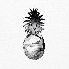 Beach in a Pineapple. Old ink work. - Beach in a Pineapple. Old ink work. Tattoo Life, Tropisches Tattoo, Surf Tattoo, Piercing Tattoo, Tattoo Drawings, Body Art Tattoos, Small Tattoos, Cool Tattoos, Piercings