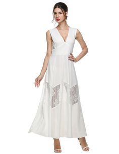 Nude Women V-Neck Sleeveless Lace Patchwork Party Ball Long Evening Wedding  Bridesmaid Dresses