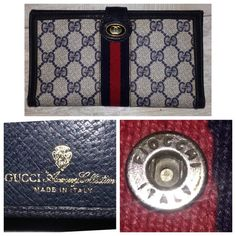 """VTG 1960's Gucci GG Coated Canvas wallet Stripe vintage 1960 -1970 Gucci web trifold checkbook wallet navy blue GG leather trim and Red Blue Stripe coated canvas   PReOwned   It's in pretty great condition considering the age...  Leather pipping is scuffed   Snaps work   Navy Liner whole   Fiocchi Italy snaps   front a GG embossed oval    coin pouch  Bill slots , credit cards & checkbook.   stamped """"GUCCI ACCESSORY COLLECTION  MADE IN ITALY""""  &""""Gucci"""" crest arrow head embossed in gold font…"""