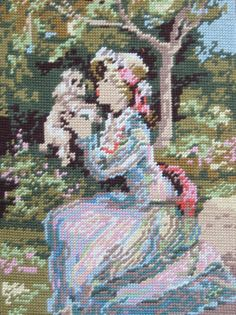 Vintage French needlepoint tapestry canvas embroidery - Lady kissing dog