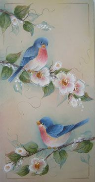 sitting pretty panel One Stroke Painting, Tole Painting, Fabric Painting, Painting & Drawing, Donna Dewberry Painting, Arte Country, Painting Patterns, Bird Art, Beautiful Birds