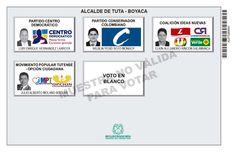 Tarjetón de elección para Alcalde de Tuta