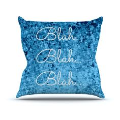 Kess InHouse Ebi Emporium Blah Blah Blah Blue Glitter Outdoor Throw Pillow - JD1051AOP02