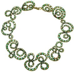Judy Geib Plus Alpha - Catalog 15: Ribbonry Silver and Gold Necklace with Emeralds