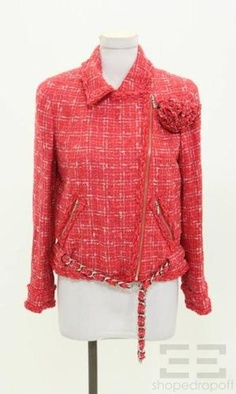 Chanel Red & Cream Boucle Chain Trim Motorcycle Jacket 06P Size 38 on auction now at www.shopedropoff.com.....eBay # 310528595880