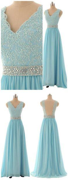 CHIC A-LINE V-NECK LIGHT SKY BLUE CHIFFON BEADING PROM DRESS EVENING DRESS AM661 #amyprom #fashion #party #evening #chic #promdress #promdresslong #longpromdress #eveningdress #lightblue