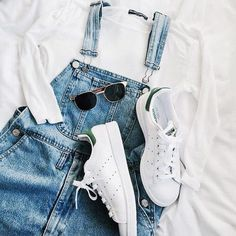 whites + denim overalls #adidas