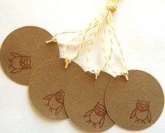 Wide-Eyed Owl - Set of 4 Tags