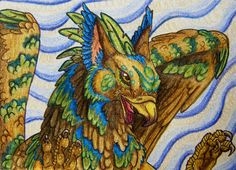 ACEO - Sky magic gryphon by Copper-Wolff.deviantart.com on @deviantART