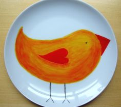 A sunny plate by Keeko on Etsy.