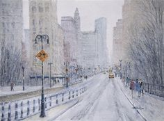 Love this watercolor painting from UGallery. Snow in the City - New York by Judy Mudd